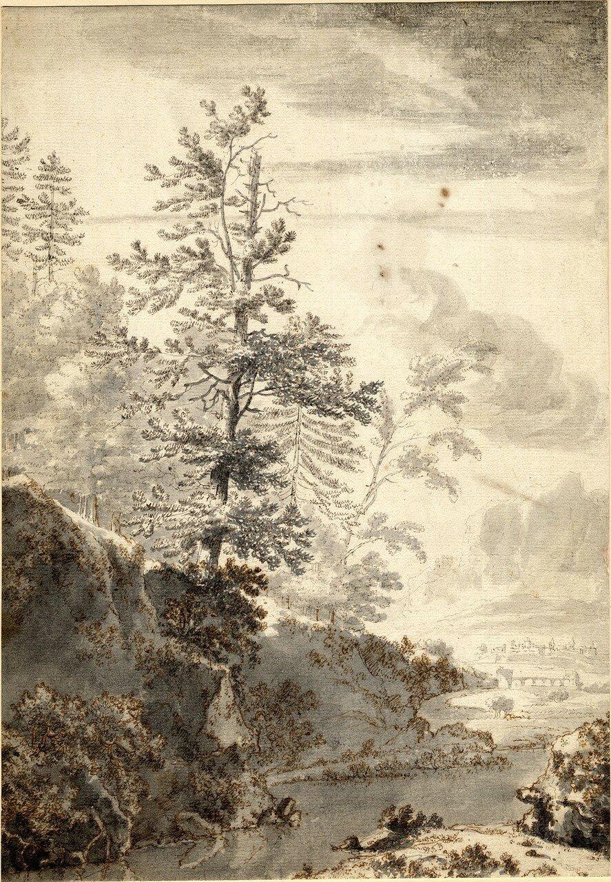 Пейзаж с елью на берегу потока (1633-1652) (350 х 244 мм) (Лондон, Британский музей) (перо, коричневые и серые чернила, размывка серым).jpg