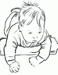 Кладите ребенка на живот, подложив под грудь свернутое полотенце