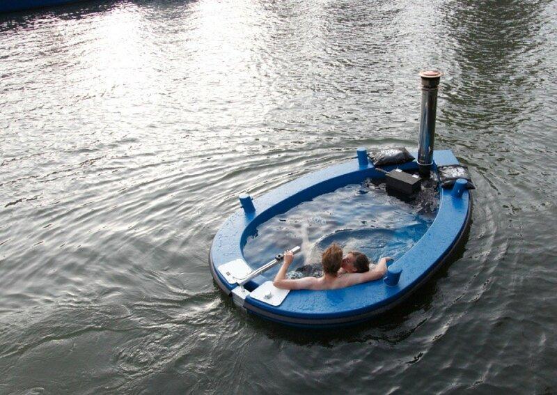 Голландская лодка ванна HotTug   горячая ванна во время прогулки по реке