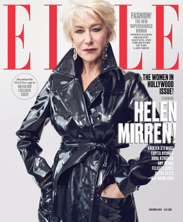Helen Mirren Styled By Samira Nasr Coat by Trademark. Earrings by David Webb.
