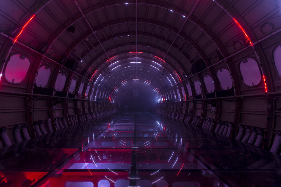 Breathtaking Light Installation in a Plane on the Ground