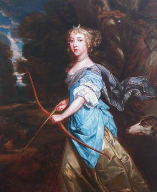 1670s Copy of  Peter Lely (English artist, 1618-1680) Mary II (1662–1694), when Princess Mary of York, as Diana.jpg