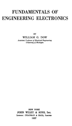 Fundamentals of Engineering Electronics - William Dow - Book Cover