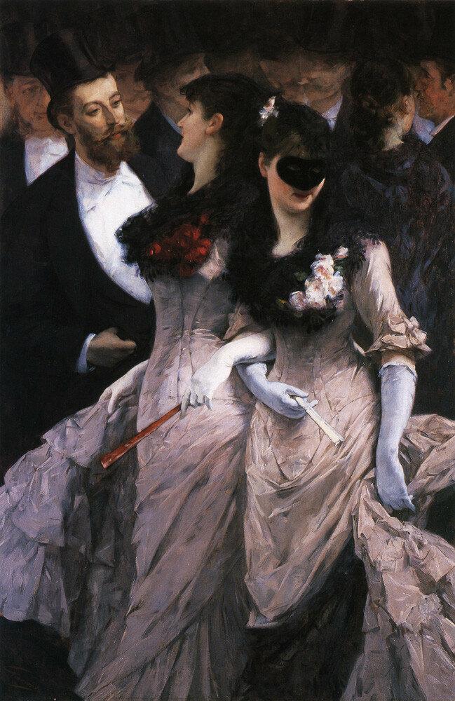 Le bal masqué, detail (c.1880). Charles Hermans (Belgian, 1839-1924)
