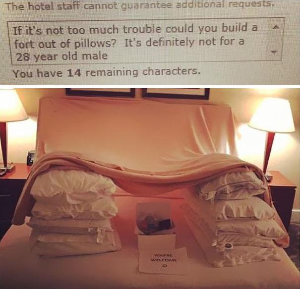 «Если это не очень сложно, не могли бы вы построить крепость из подушек? Это точно не для 28-летнего