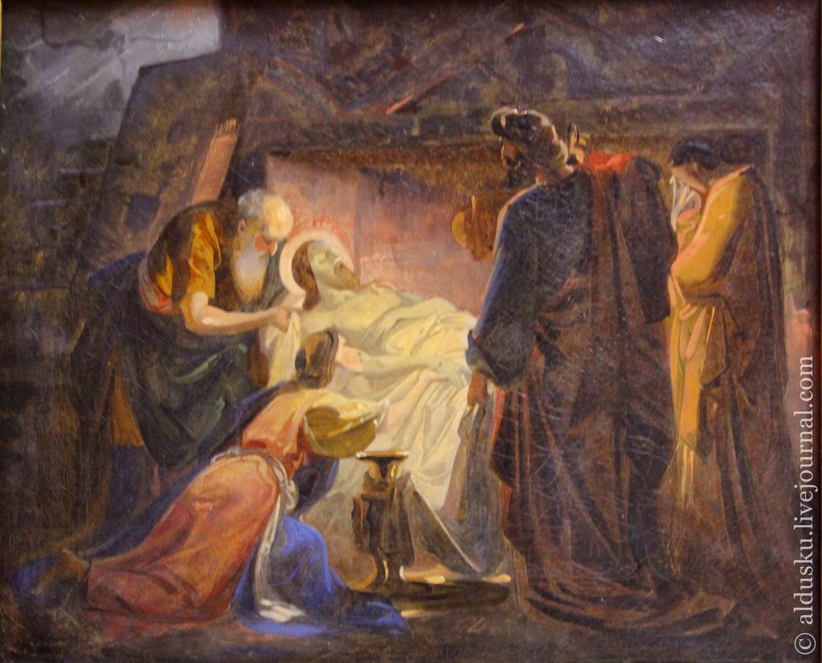 Брюллов К.П. (1799–1852) Положение во гроб. Эскиз. 1836–начало 1840-х Холст, масло