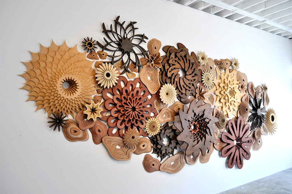 Spiraling Coral Reefs Assembled from Precisely Cut Wood by Joshua Abarbanel (8 pics)