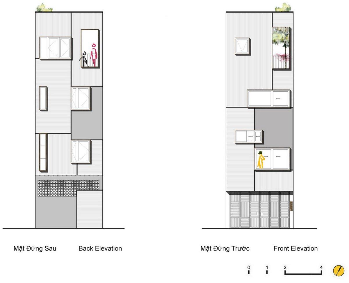 QT House, LANDMAK ARCHITECTURE, узкий частный дом фото, ржавый металл в интерьере фото, очень узкий частный дом фото, дерево в частном доме фото