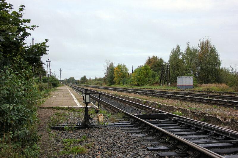 Станция Земцы, платформа и ручная стрелка, вид на Великие луки