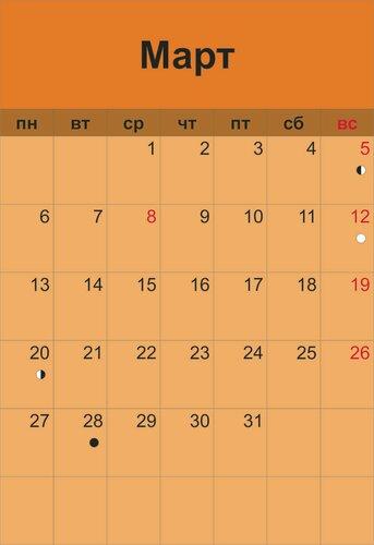 лунный календарь  март 2017
