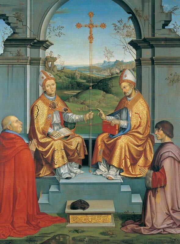 St. Thomas Becket et St. Martin de Tours avec l'archevêque Giovanni Pietro Arrivabene.jpg