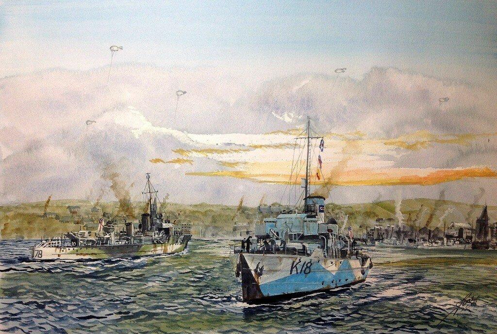 Londonderry. Mid Ocean Escort Force ships, I78 HMS Wolverine and K18 HMS Campanula.