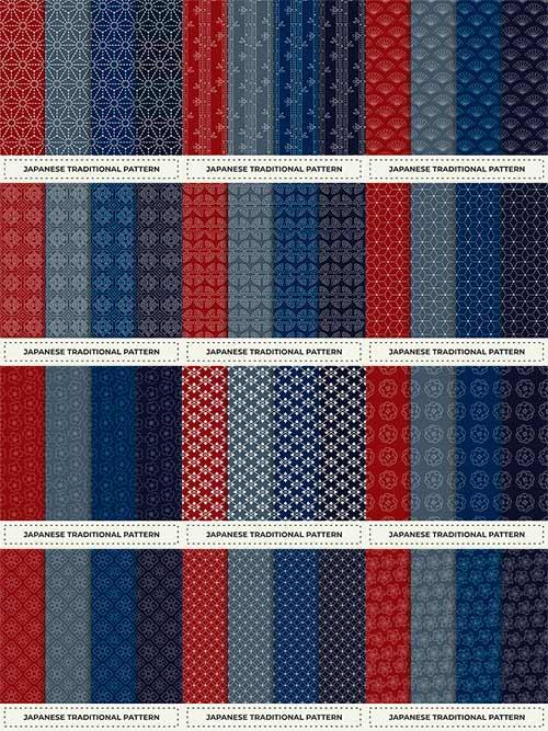 Бесшовный узор в японском стиле - Вектор / Seamless pattern in Japanese style - Vector