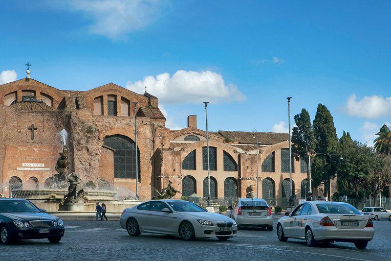 Fontana delle Naiadi and Santa Maria degli Angeli e dei Martiri Basilica in Rome, Italy