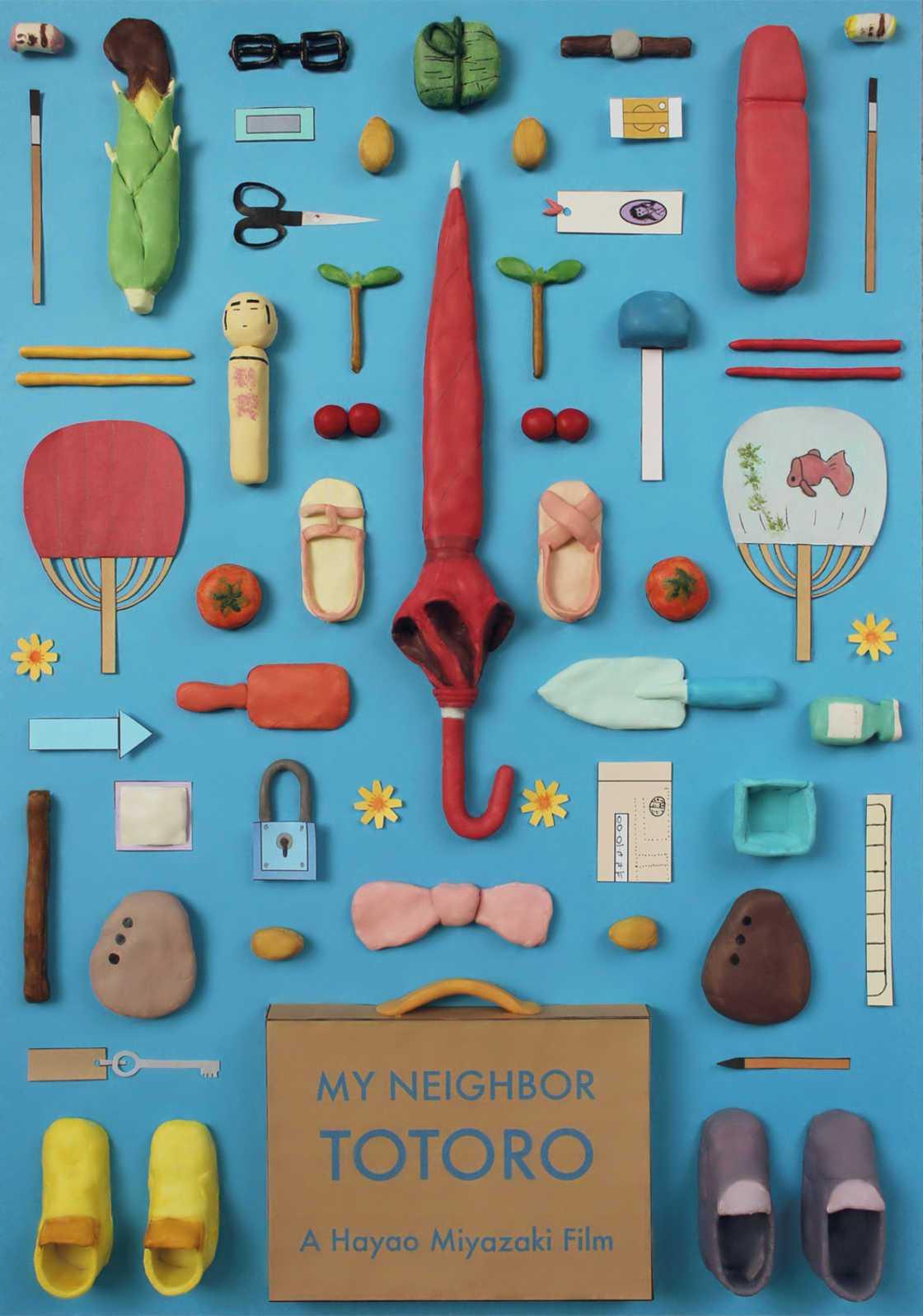 Objetos iconicos dos filmes de Miyazaki foram reunidos em cartazes