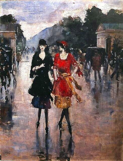 Две девушки , идущие по улице. Лессер Ури 1921
