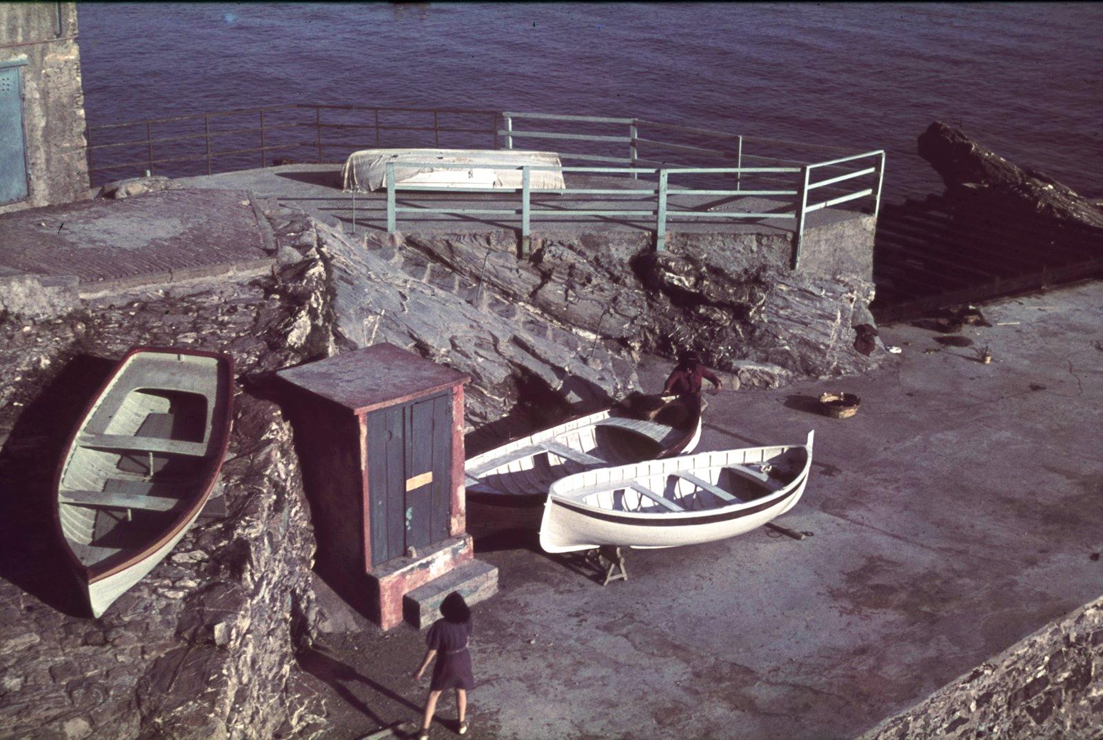Обзорная площадка и укрепленная береговая линия с гребными лодками