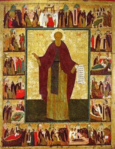 Святой Преподобный Кирилл Белозерский. Икона мастерской Дионисия. Начало XVI века.