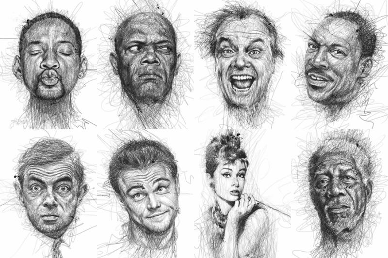 Художник Винс Лоу рисует портреты, не отрывая ручки от бумаги