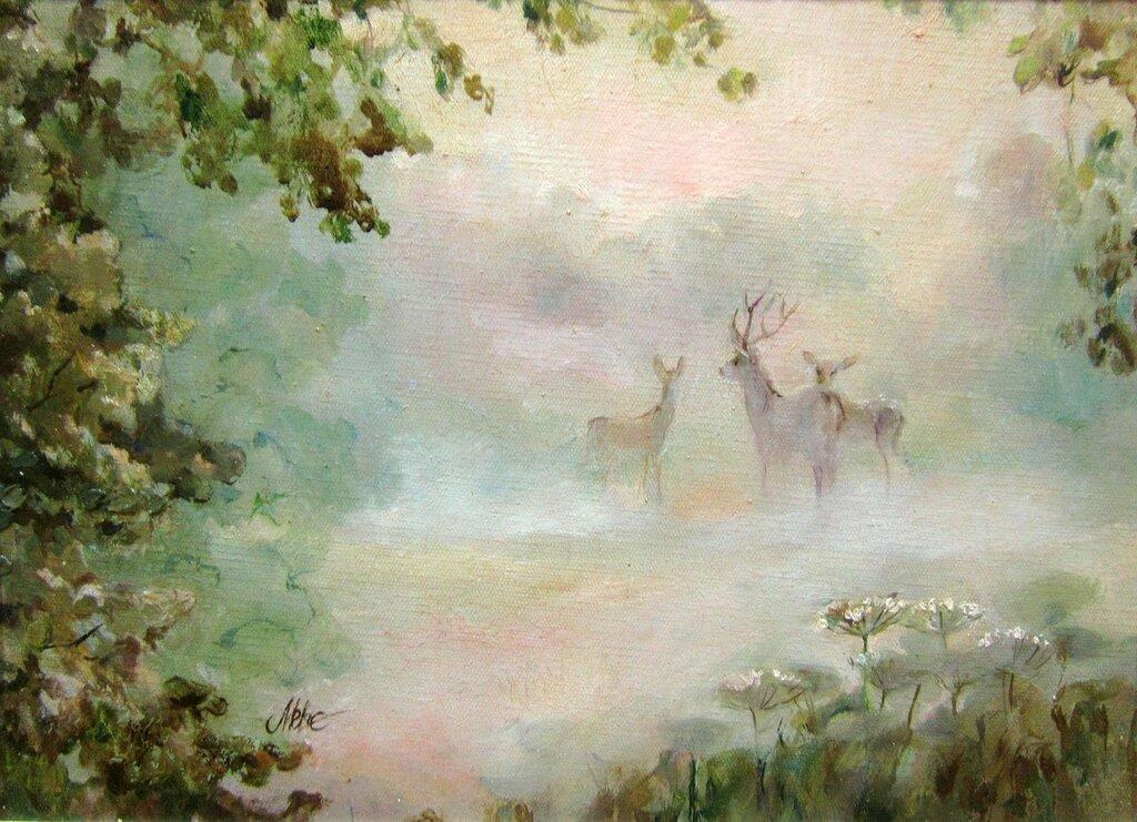 Т. А. Калмыкова (Таня Медянская). Оленья опушка в тумане.