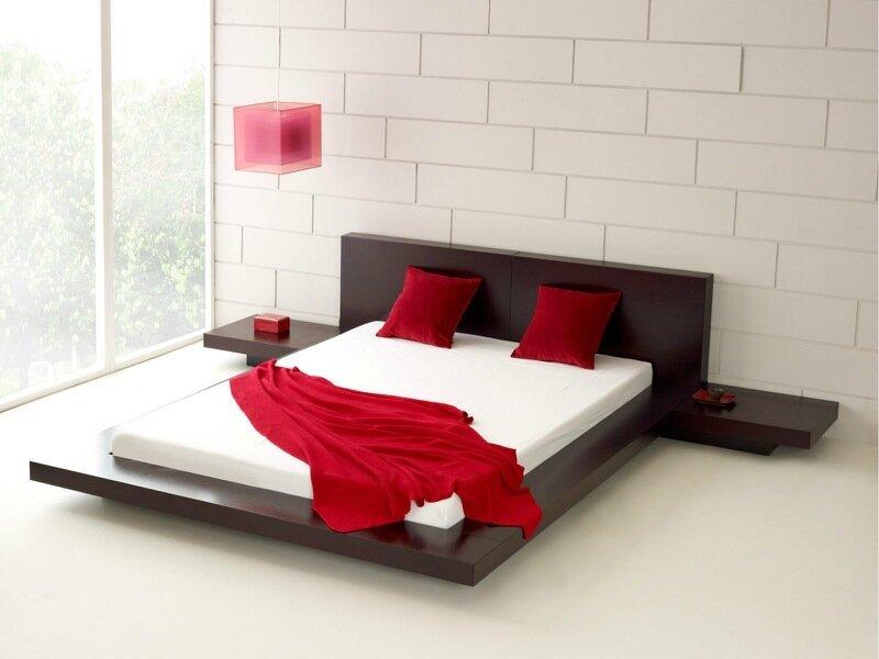 минималистичная спальня с красными акцентами