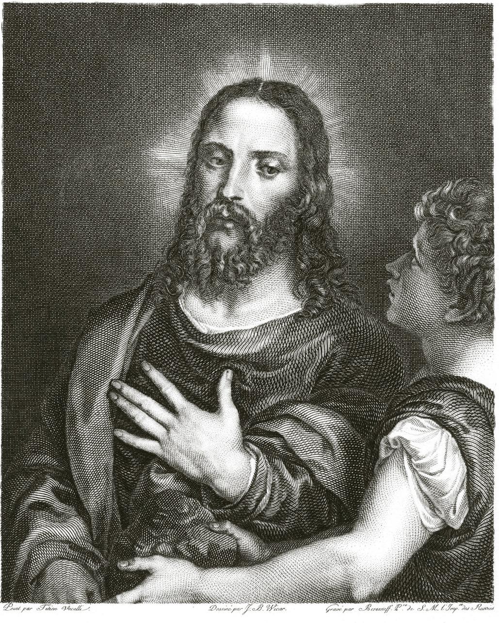 209. Гравюра Берсенева Дьявол искушает Спасителя, с картины Тициана