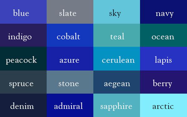 Название оттенков синего