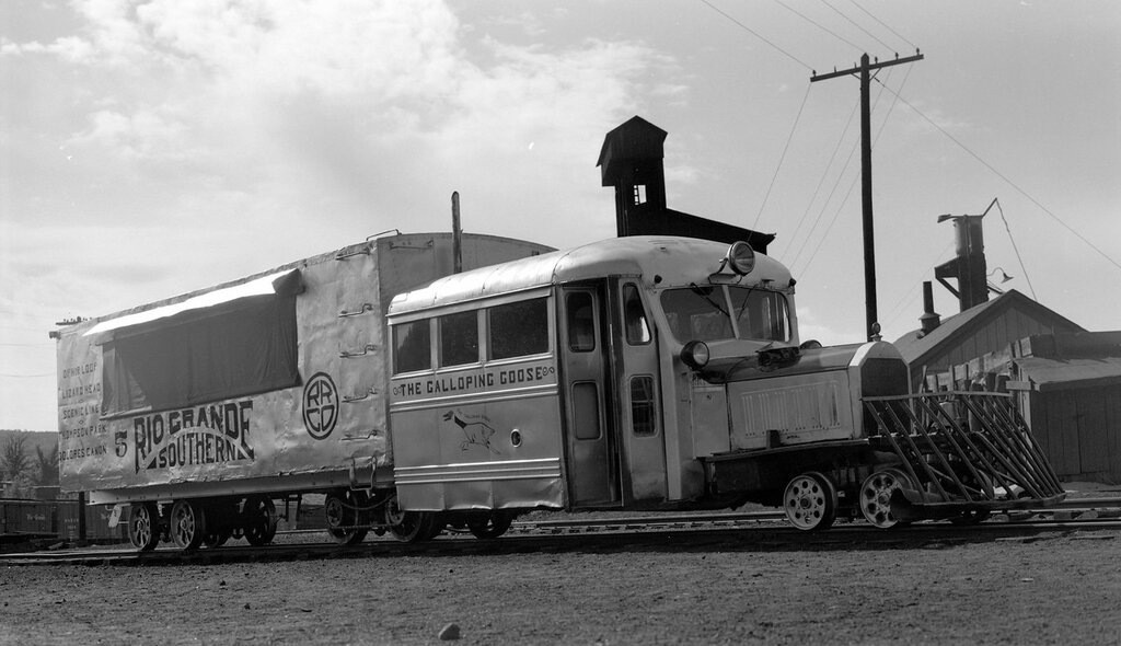 Rio Grande Southern narrow gauge motor car number 5 'Galloping Goose', at Durango, Colo., August 13, 1950.