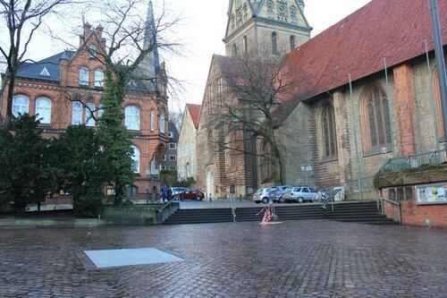 Die Ecke vom Südermarkt wo einst der Flensburger Bismarckbrunnen stand