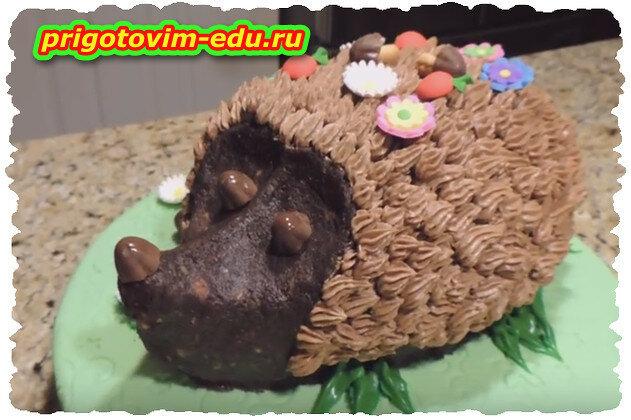 Детский торт ёжик на поляне.