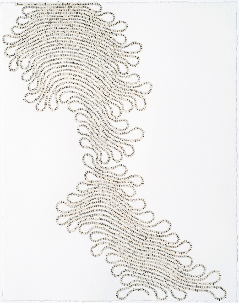 New Text Drawings Formed by Letters From Religious Texts by Meg Hitchcock