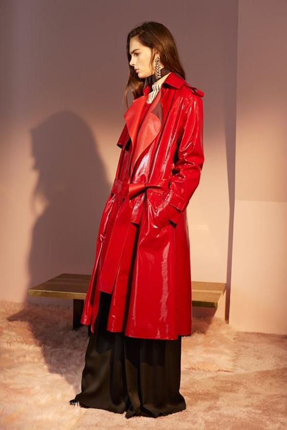 Lanvin красный кожаный плащ