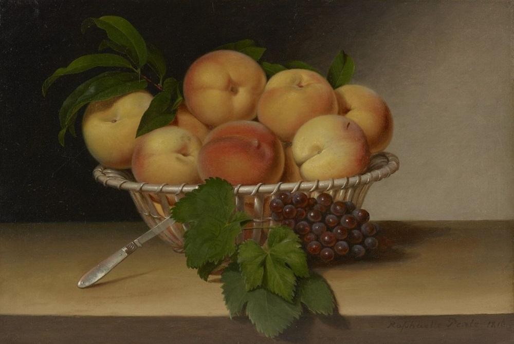 Рафаэль Пил. Натюрморт - Корзина персиков. 1816