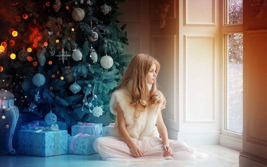 Новогодняя ёлка, дети, девочка, подарки, украшения, сказка