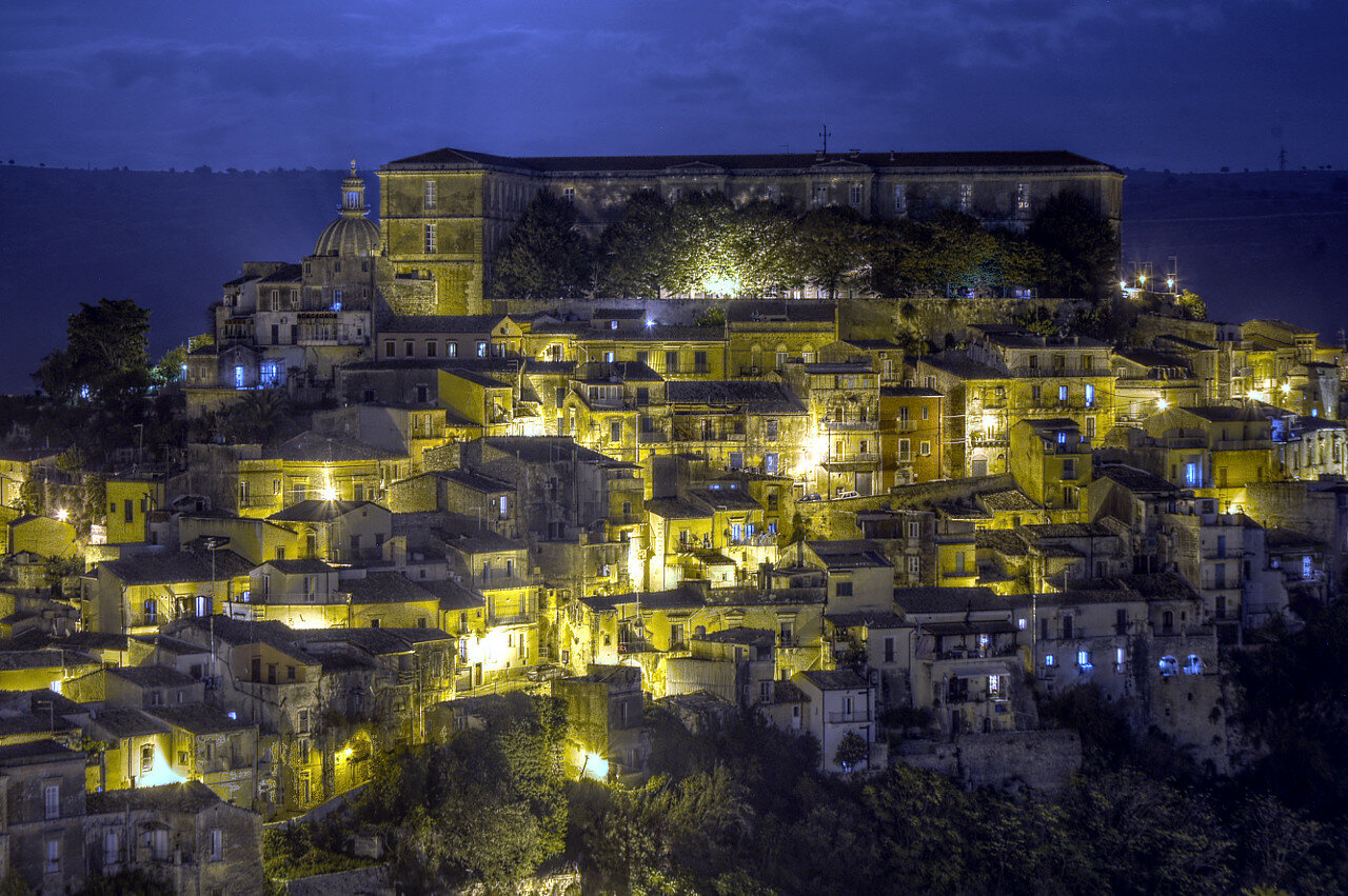 Night Ragusa, Sicily. HDR photo
