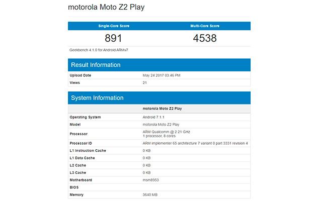 Android-смартфон Moto Z2 Play наSnapdragon 626 замечен вGeekBench