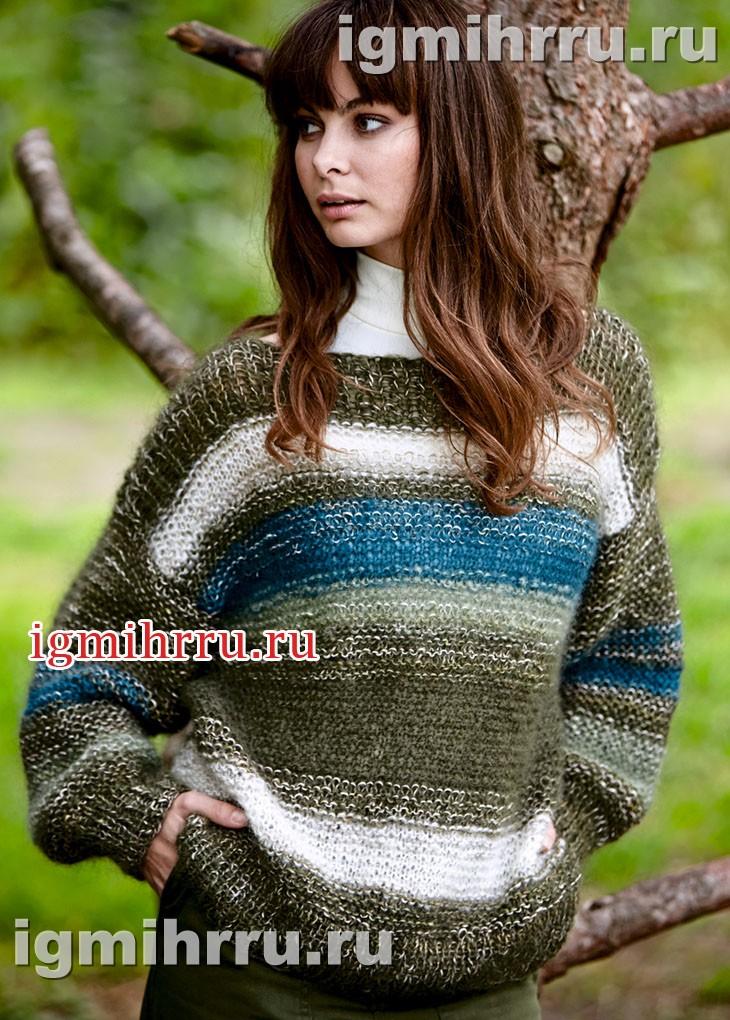 Объемный полосатый пуловер с меланжевым эффектом. Вязание спицами