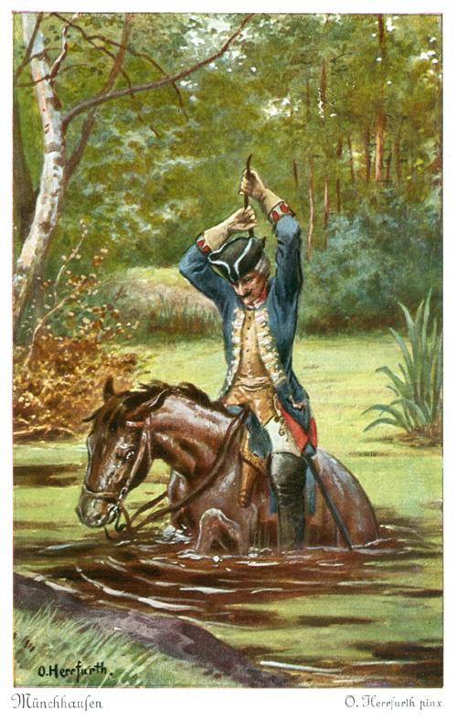 Барон Мюнхгаузен вытаскивает себя с лошадью из болота за волосы.