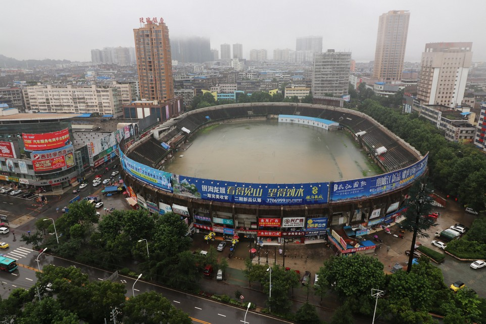 A stadium is flooded after heavy rainfall in Ezhou