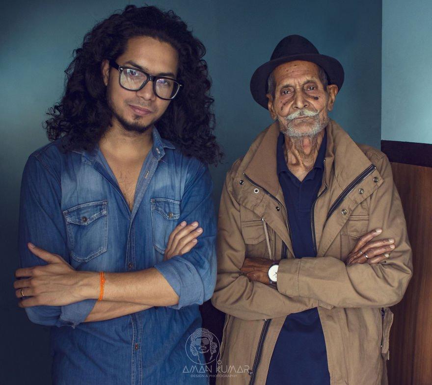 Аман Кумар (фотограф) и его 96-летний дедушка.