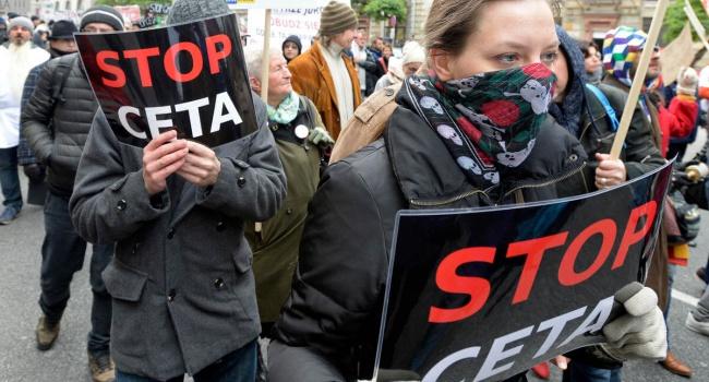 ВЕС прошли демонстрации против торгового соглашения сСША иКанадой