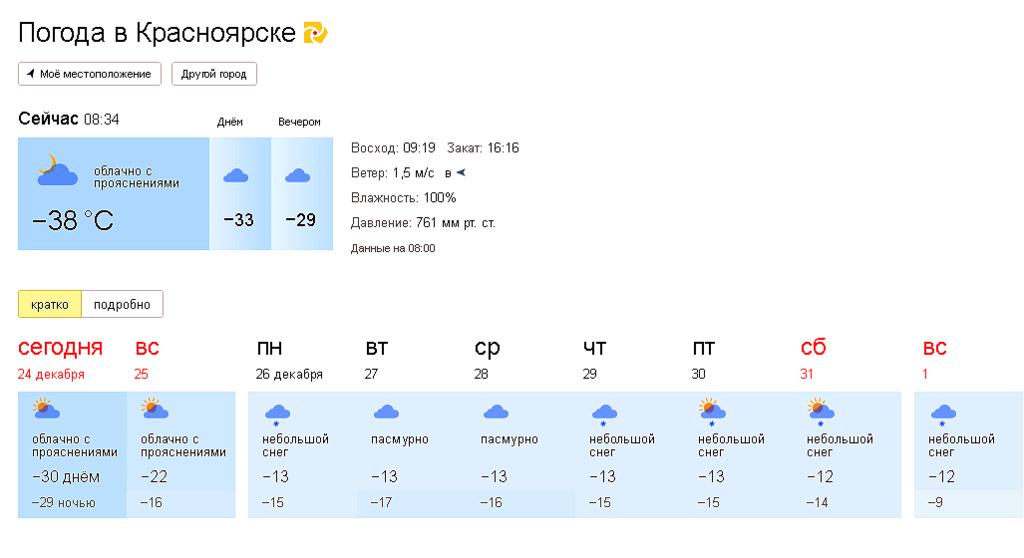 Погода красноярске на 10 дней
