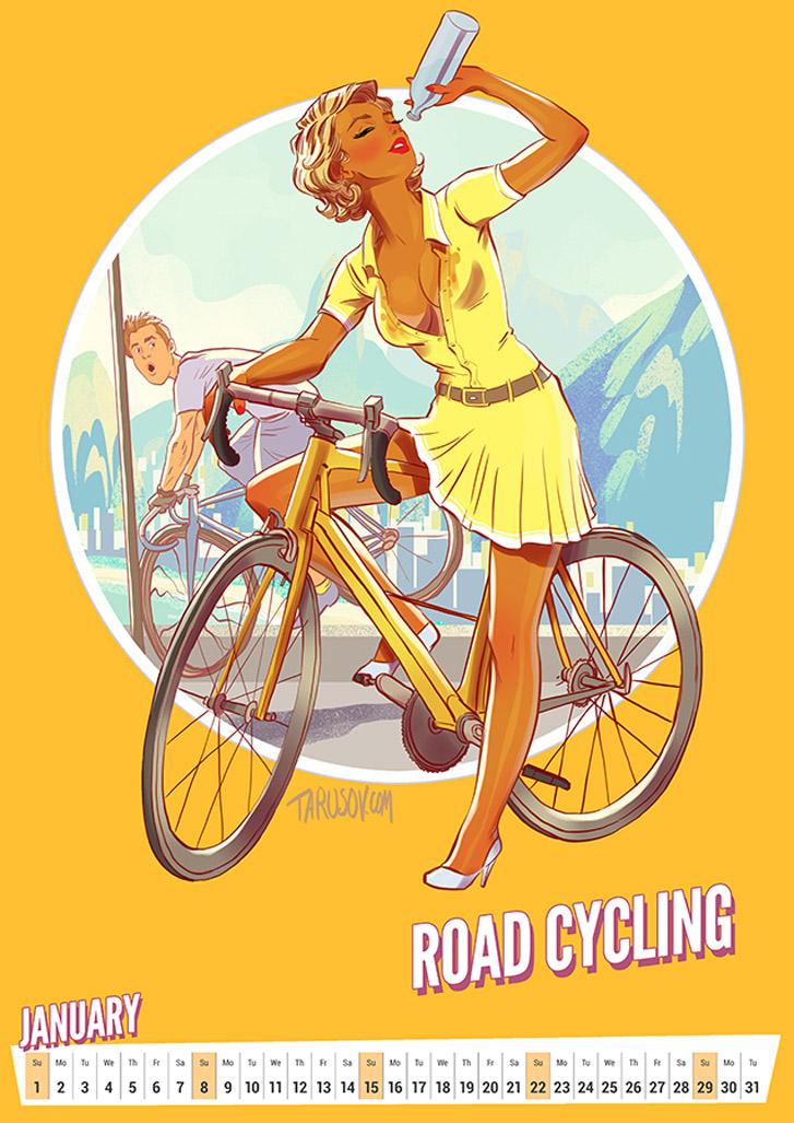 Шоссейные велогонки - Summer Olympic Pin-Up Calendar 2017 / художник Андрей Тарусов