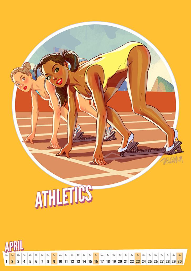 Легкая атлетика - Summer Olympic Pin-Up Calendar 2017 / художник Андрей Тарусов