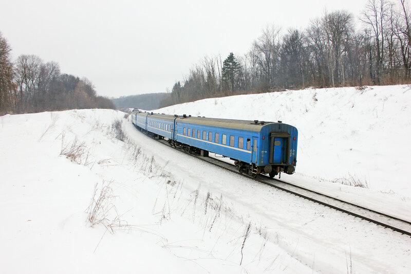 ТЭП70-0551 с поездом Поезд 067Б Саратов — Брест. Перегон Дищня - Залегощь, хвост