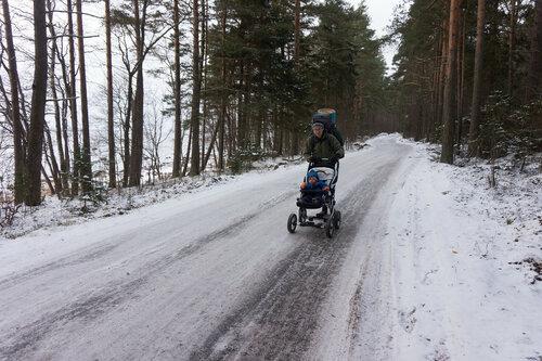 зимний пеший поход с годовалым ребенком в коляске