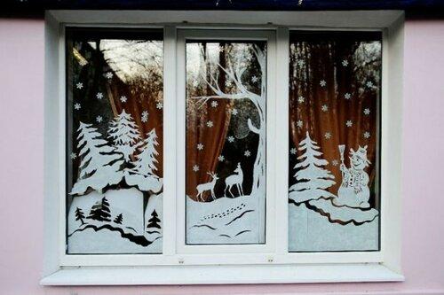 Интересный конкурс «Новогодние окна» проходит в Волжском