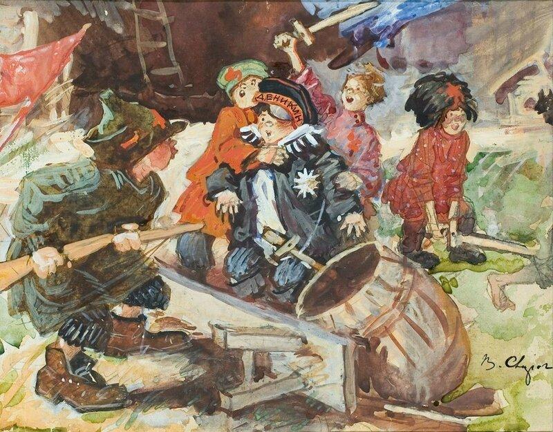 Сварог Василий Семенович (1883-1946) «Пленение Деникина» 1932.