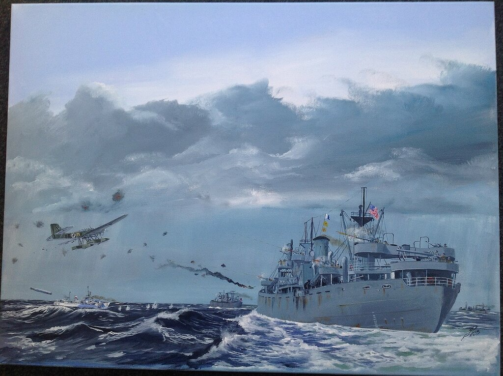 Liberty ship'Cornelius Harnett' downs two He115s.