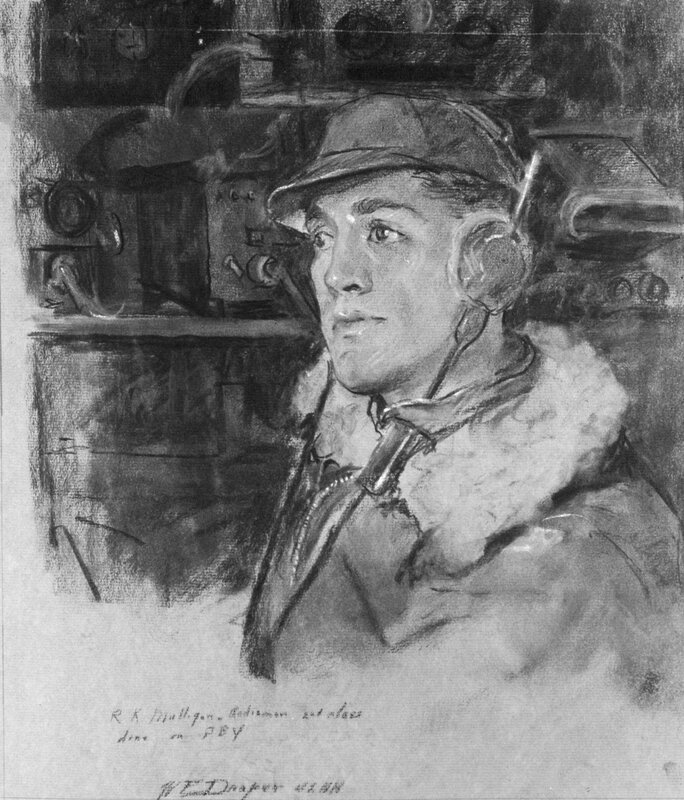William F. Draper - Radioman R.K. Mulligan, U.S.N. - Aleutians (1942) This portrait of Radioman R. K. Mulligan was drawn at Dutch Harbor, Alaska, Naval Air Station in November 1942.